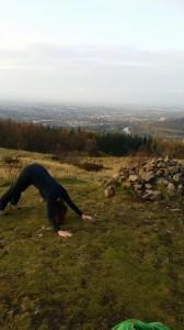 outdoor yoga downward dog
