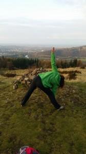 yoga outside triangular posture