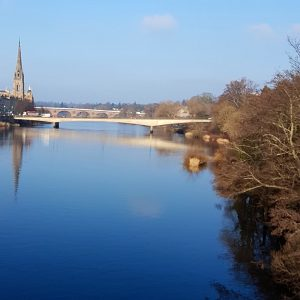River Tay looking towards the Fair City of Perth, taken from the railway bridge
