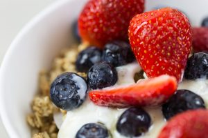 Granola cereal, yogurt and fruit